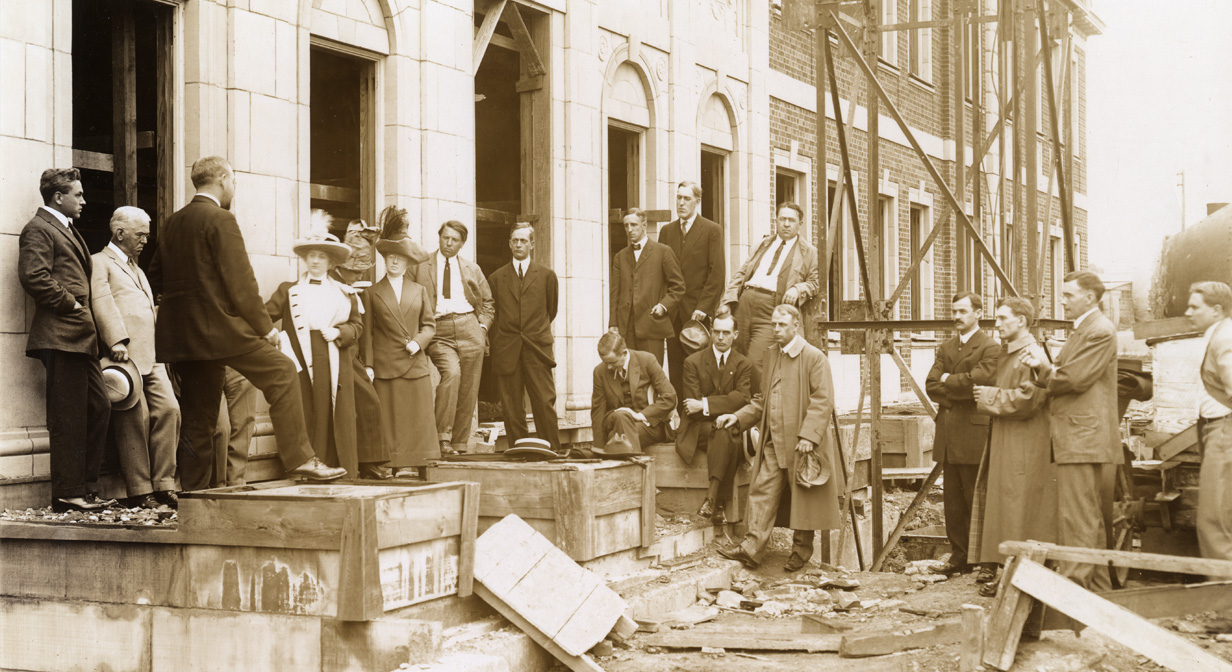 Laying the cornerstone at Nela Park, April 1913