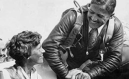 Jimmy Haizlip greeting Amelia Earhart at the 1932 National Air Races.