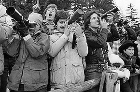 Photographers at Buzzard Roost in Hinckley Reservation, 1981