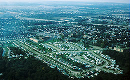 Aerial view of a housing project in Cleveland near the airport.