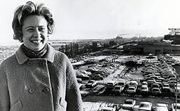 Betty Klaric in front of Cleveland Press parking lot, March 6, 1969.