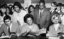 Director of Cleveland Urban League shows Kenston High School seniors services offered by the Cleveland Urban League, 1968